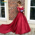 Burgundy Wedding dresses 2017 A line Lace satin Long Sleeves Burgundy Turkey Bridal Gowns Robe De Mariage Rouge wedding gowns