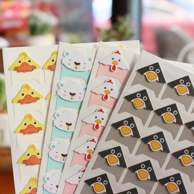 96 pçs/lote 4 folhas DIY Bonito Colorido animais Papel Canto Adesivos para Álbum de fotos Scrapbooking álbuns Frame Handwork Decoração