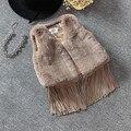 Новый бренд детей девочек v-образным вырезом жилет теплый жилет девушки куртка из искусственного меха жилет для девочек кисточка жилет 3 цвета 2 - 6 т