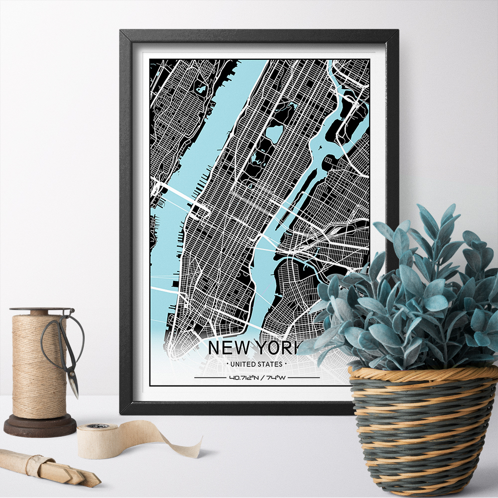 HD Prints Blue River Style City Custom City Map Print Canvas Art Poster Painting Wall Art Home Decor For Bed Room Unframed in Painting Calligraphy from Home Garden