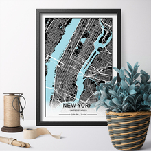 HD Prints Blue River Style City Custom Map Print Canvas Art Poster Painting Wall Home Decor For Bed Room Unframed