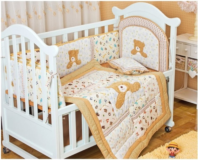 Promotion! 6PCS embroidery bebe jogo de cama Baby Product Baby Linen Bedding Set for Kids ,include(bumper+duvet+bed cover)