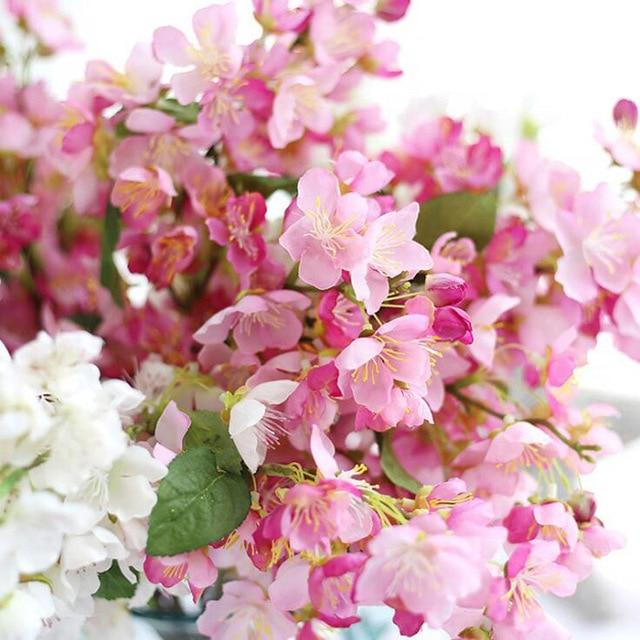 10pcs Artificial Fake Flowers Leaf Silk Cherry Blossoms Wedding Bouquet Decorative Plants 5 Colors