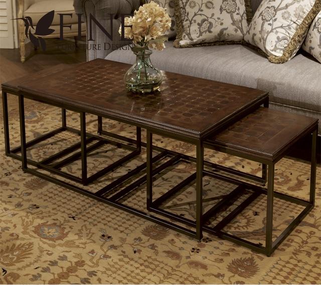 Refinado Americana informal mesa de centro de madera maciza marco ...