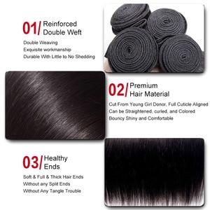 Image 2 - Mi ליזה 3 חבילות עם פרונטאלית מלזי ישר שיער Weave רמי שיער טבעי צרור ו 13x4 תחרה פרונטאלית סגירה עם חבילות
