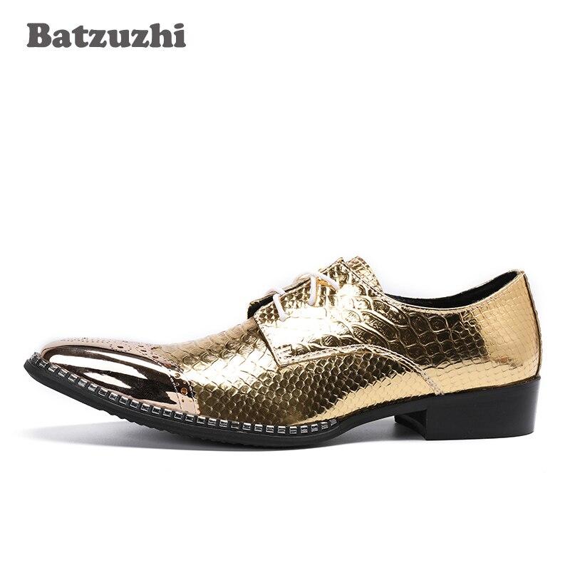 Party Männer 46 Gold Batzuzhi Leder Handgemachten Hochzeit Schuhe Echtem Luxus Typ Spitz Eu38 Und Schuhe Italienischen Kleid H11xzg