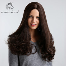Blonde Unicorn 20 Inches Synthetic Center Parting Long Wavy Wigs