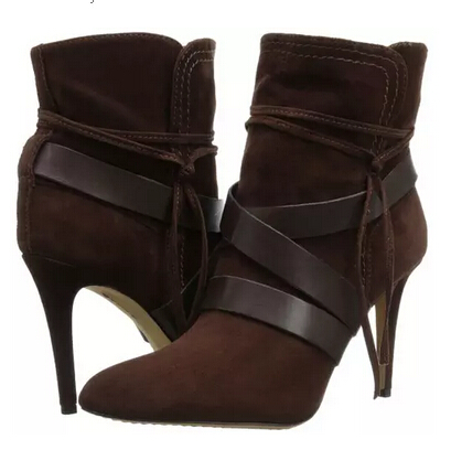 New designer dark browm high heel bootie women lace-up autumn winter boots wide strap side zipper ankle boots free shipping