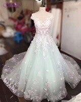 Dreagel Robe De Mariage Lace Up Scoop Neck Vintage Wedding Dress 2017 Fashion Appliques Cap Sleeve