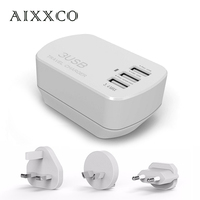 AIXXCO 5V3 4A 3 USB Charger Travel Wall Charger Adapter Portable AU US EU UK Plug