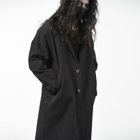 Black Windbreaker Personality Cloak Port Wind Nightclub Coat Men Tide Gothic Knee Robes Loose Mens Trench Coat Jacket Steampunk