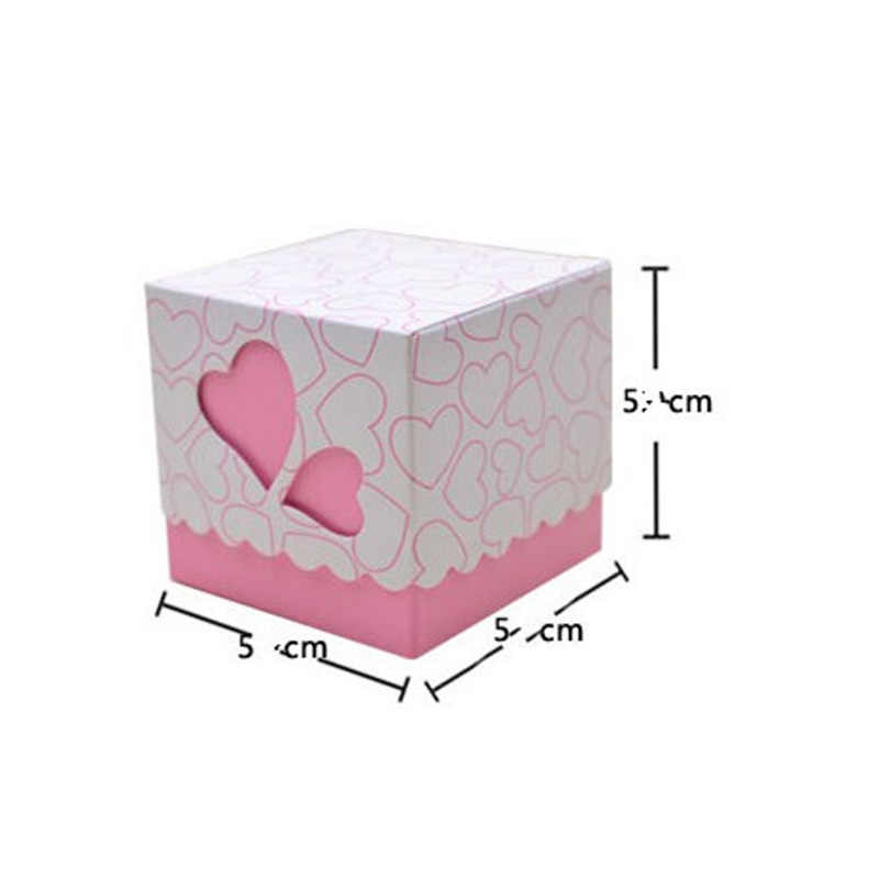 50pcs Love Heart Small Laser Cut Gift Candy Boxes Wedding Party Favor Candy Bags With Ribbon Decor  LAD-sale