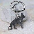 German Shepherd Dog Pendant Chains Keychain Animal Shape Silver Tone Metal Trendy Holder Keyring 2016 New Fashion
