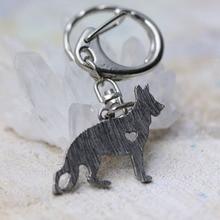 German Shepherd Dog Pendant Chains Keychain Animal Shape Silver Tone Metal Trendy Holder Keyring