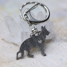 M12015 German Shepherd Dog Pendant Chains font b Keychain b font Animal Shape Silver Tone Metal