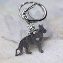 M12015 German Shepherd Dog Pendant Chains Keychain Animal Shape Silver Tone Metal Trendy Holder Keyring 2016 New Fashion 1Pc/Lot