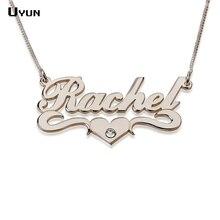 Nombre personalizado collar de plata personalizada Carrie estilo placa de identificación del collar con el corazón moda Brithstone encanta collares para para 2016
