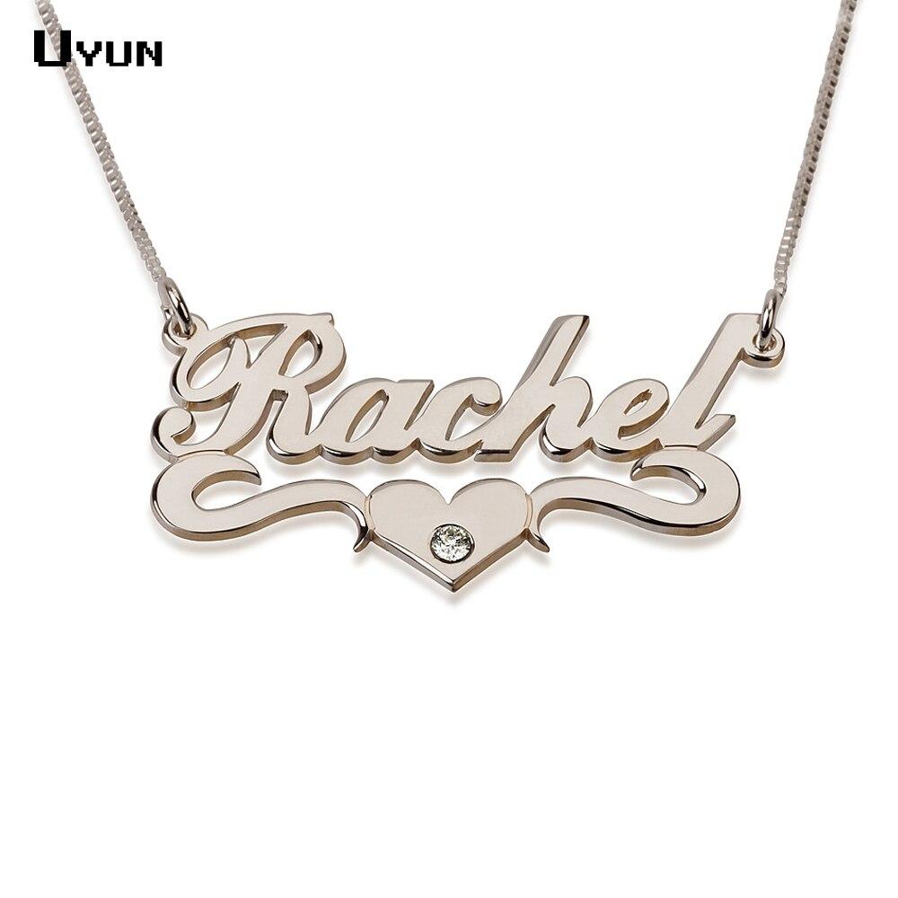 Prix pour Nom personnalisé collier en argent personnalisé Carrie Style collier avec plaque signalétique coeur mode Brithstone colliers pour les femmes 2016