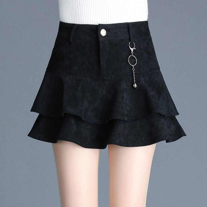 2019 autumn and winter high waist A-line tutu elegant mini skirt female new slim fit ruffles skirt plus size zipper short skirt