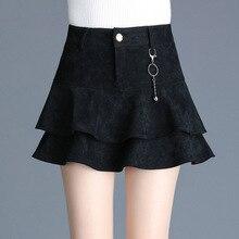 2018 autumn and winter high waist A-line tutu elegant mini skirt female new slim fit ruffles skirt plus size zipper short skirt