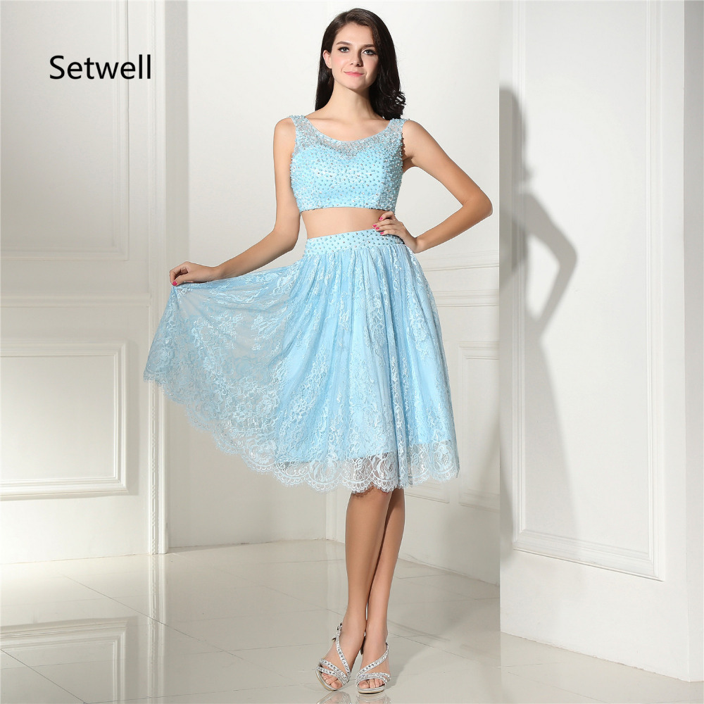 Setwell Sexy Two Pieces   Prom     Dresses   2017 Custom Made Beaded Formal Evening Gowns Illusion Neckline Lace Homecoming   Dress
