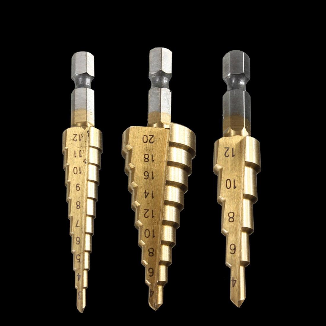 3pcs High Speed Steel Wood Drilling Power Tools 3-12mm 4-12mm 4-20mm HSS Titanium Coated Step Drill Bit