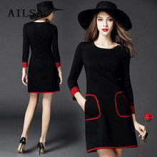 Fashion dignified dress Black loose plus velvet thick European and American brands large yards long sleeves sexy office dress
