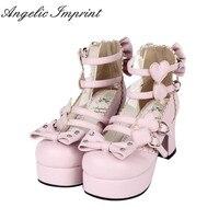 Japanese Harajuku Gothic Lolita Cosplay Shoes Alice in Wonderland Poker Series High Heel Bowtie Shoes