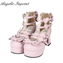 Japanese Harajuku Gothic Lolita Cosplay Shoes Alice in Wonderland Poker Series High Heel Bowtie Shoes
