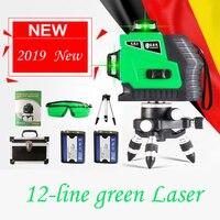 Новый 3D 12 линий красный зеленый лазерный уровень мощный луч с литиевой батареей самонивелирующийся 360 4 Горизонтальный и 8 вертикальный крес...