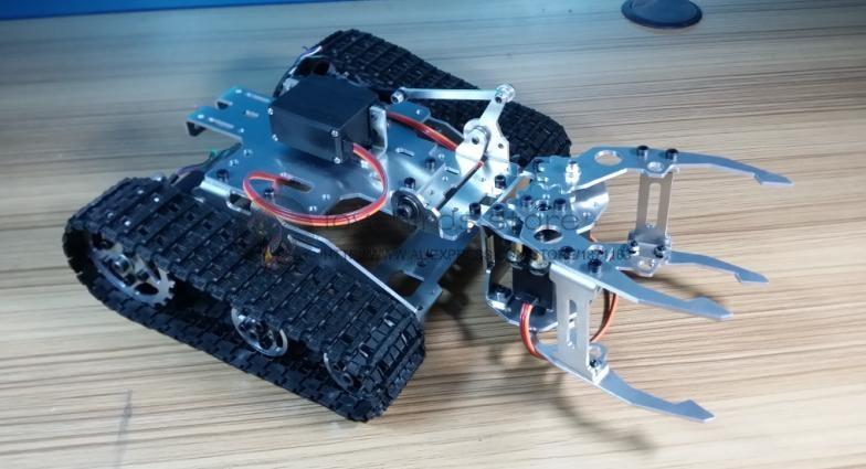 DIY Tracked Robot rāmja modle Big Gripper tvertnes tipa robota statīvs ar Hall pistoli