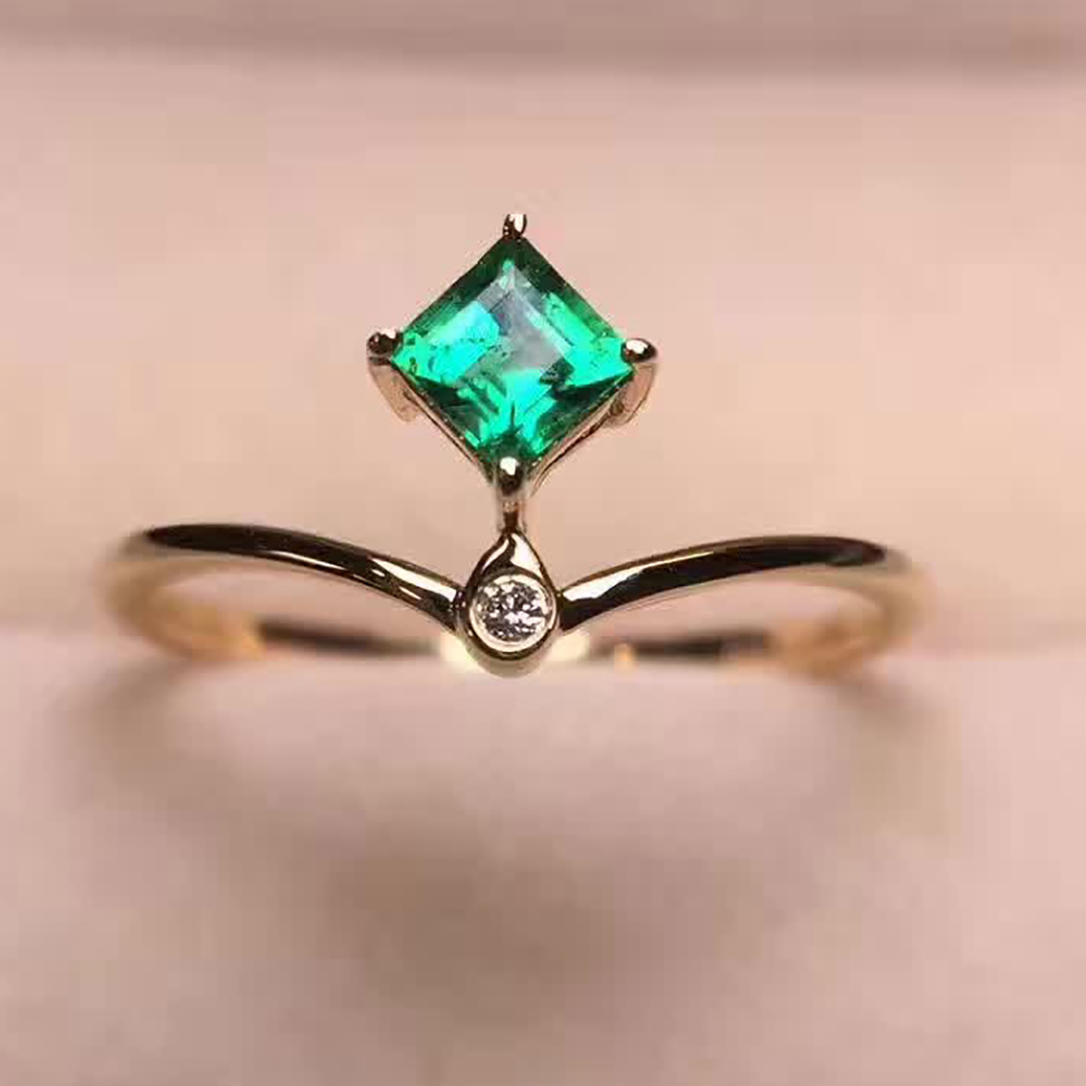 Online Shop VS Emerald ring 18k real Gold Diamond Ring Valentine ...