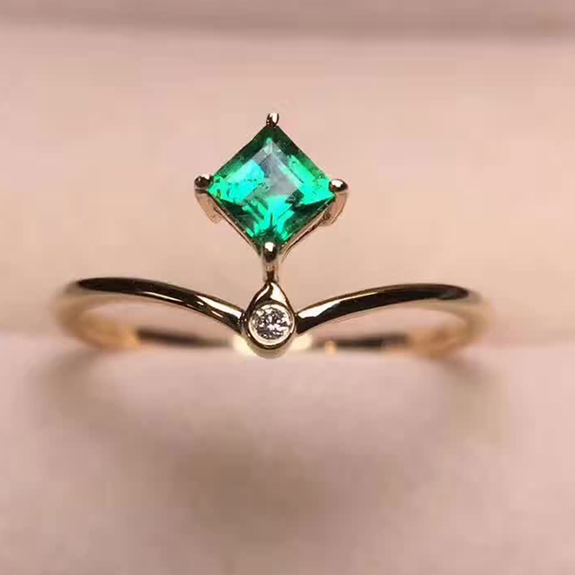 Prächtig VS Emerald ring 18k real Gold Diamond Ring Valentine gift student &LM_61