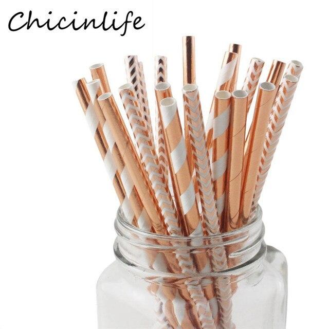 Chicinlife 25Pcs Rosegold Stripe Disposable Straws Kids Birthday Party Wedding Baby Shower Decorative Drinking Straws Supplies