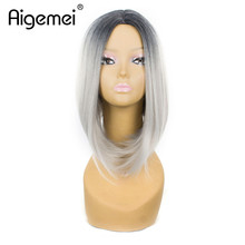 Aigemei  Short Ombre bob Wigs For Women 12 Inch Straight Heat Resistant Synthetic Bob Wig