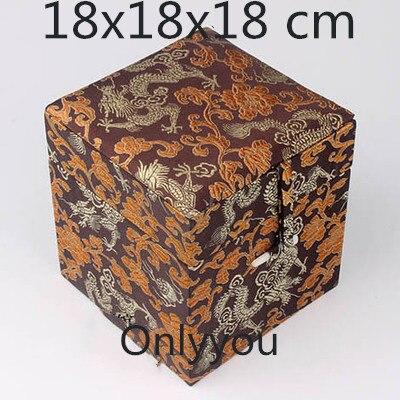Boîte de rangement en tissu Cube carré en bois chinois de luxe boîte de rangement en soie bijoux en brocart artisanat en pierre boîte d'emballage cadeau Collection - 6