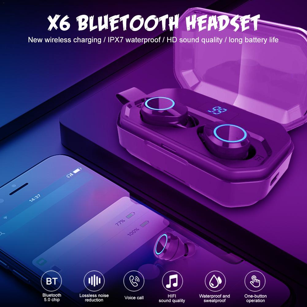 New X6 Pro TWS Bluetooth 5.0 Earphone Wireless IPX7 Waterproof Headset 4000mAh 10W Charging Case Can Use For And Phone