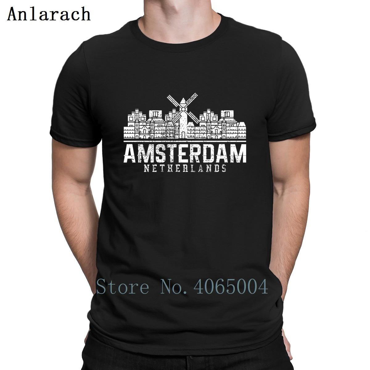 Amsterdam Holland Netherlands Windmill   T     Shirt   Euro Size S-3xl Natural Summer Style Letters Tee   Shirt   Basic Customized   Shirt