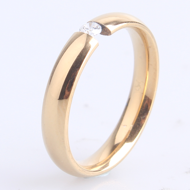 free shipping 3MM Gold color Clip zircon 316L Stainless Steel finger rings for women wholesale