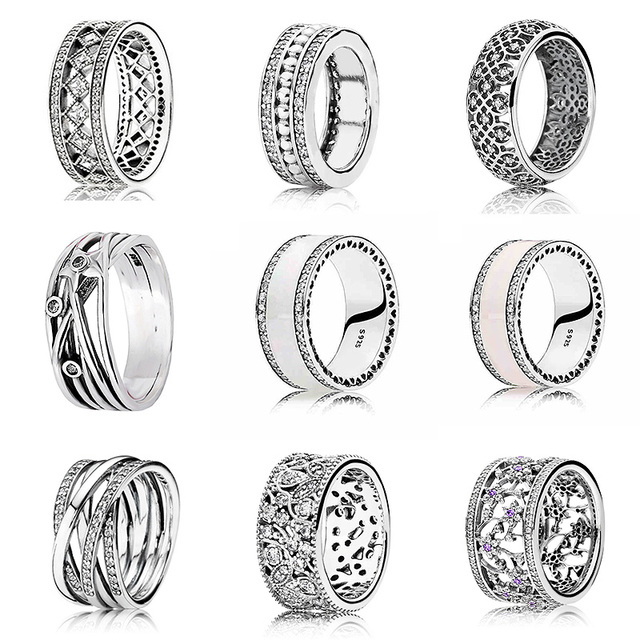 0968bc784 Pearlescent Hearts Entwining Silver Rings 925 Sterling Silver Signature Ring  For Women Wedding Gift Fine Pandora Jewelry