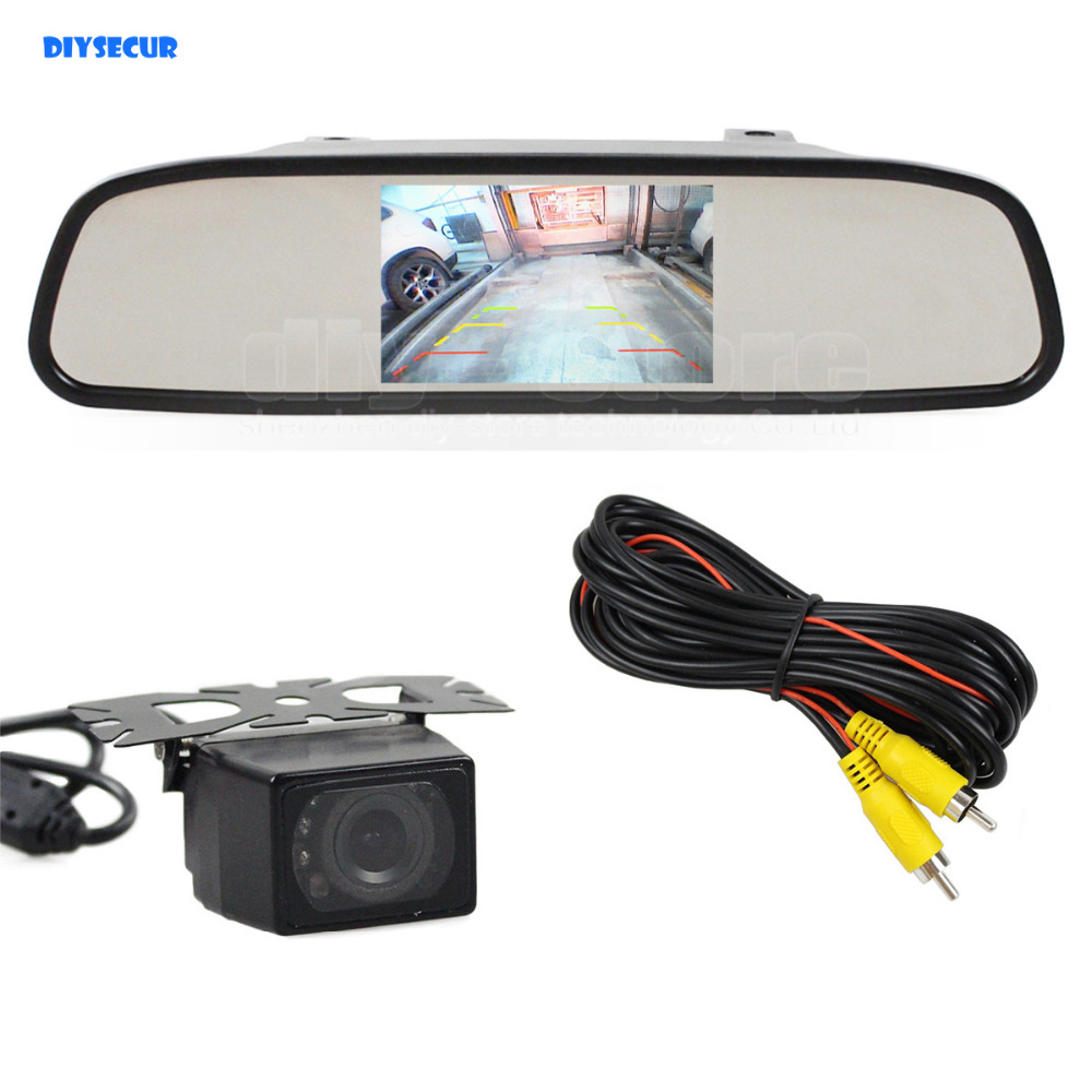 DIYSECUR 4.3 Inch Car Monitor Mirror Monitor + Waterproof IR Night Vision Rear View Car Camera Parking Accessories Cam