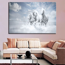 HD Print Canvas Pictures Wall Art 1 Piece/Set White Running Horses Painting Home Decor Abstract Poster For Living Room Framework(China)