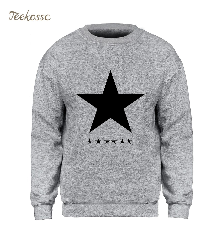 David Bowie Heroes Black Star Posters Sweatshirt Men Slim Fit Hoodie Gray Crewneck Sweatshirts New Brand Fleece Warm Sportswear