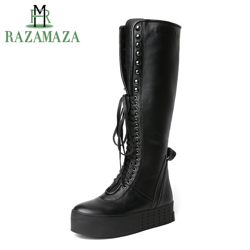 RAZAMAZA Novelty Boots Cross Tied Real Leather Knee Boots Shoes Women Winter Fashion Fur Long Boots Female Ridding BootsRAZAMAZA Novelty Boots Cross Tied Real Leather Knee Boots Shoes Women Winter Fashion Fur Long Boots Female Ridding Boots