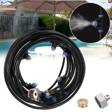 8M Garden Misting System Water Tap Adapter Cooling Outdoor Spray With Brass Nozzle Splitter Cable Tie Watering Kit