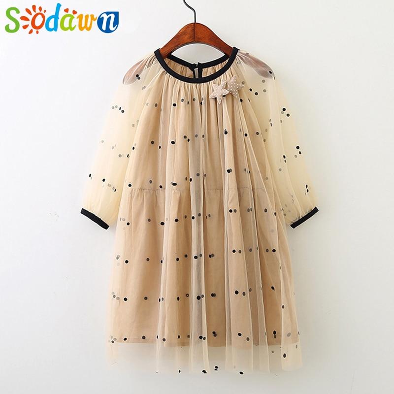 Sodawn Summer NEW Girl Dress Fashion DOT Dress  For Children Kids Clothing Beach Girls Clothing