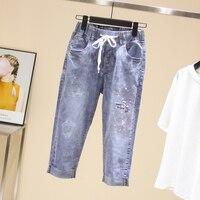 639c61821 ... Femininas Cintura Elástica Cargo. Largesize 5xl Patchwork Sequined Diamond  Jeans Women Washed Denim Trouser Jeans Female Elastic Waist Cargo Pants