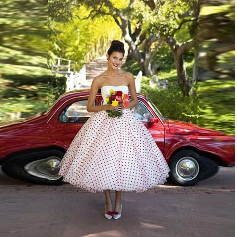 Red And White Wedding Dresses 2013: Cheap Polka Dot White And Red Wedding Dresses Strapless