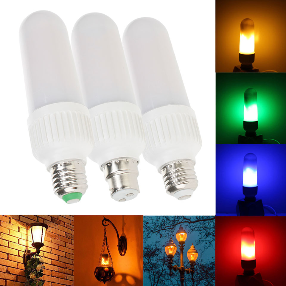 New Arrival E26 E27 3528SMD 5W B22 Bayonet Colorful LED Flame Effect Fire Light Bulbs Flickering Emulation Decorative Lamps new arrival c w 5 25g 4m 5m 99