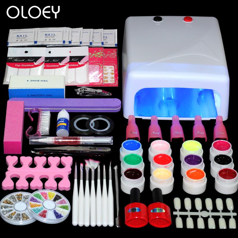 US $48.72 |Home Use nail kit UV LED Lamp & 12 Color UV Gel Nail Polish Art  Tools top coat base gel Nail Set Manicure Set-in Nail Form from Beauty & ...